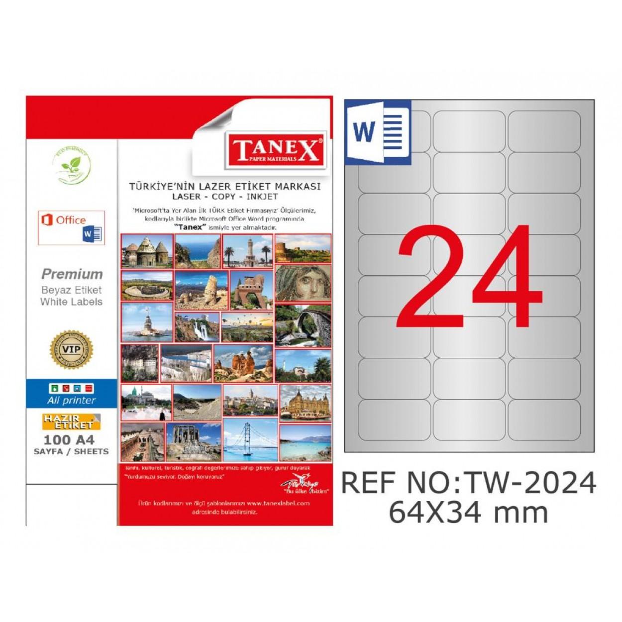 Tanex TW-2024 64x34 mm Gümüş Lazer Etiket 600 Lü