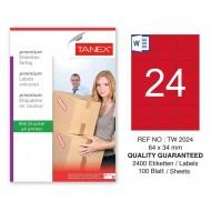 Tanex TW-2024 64x34mm Kırmızı Pastel Laser Etiket 100 Lü
