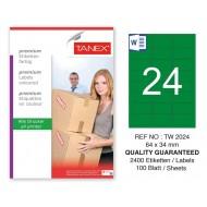 Tanex TW-2024 64x34mm Yeşil Pastel Laser Etiket 100 Lü