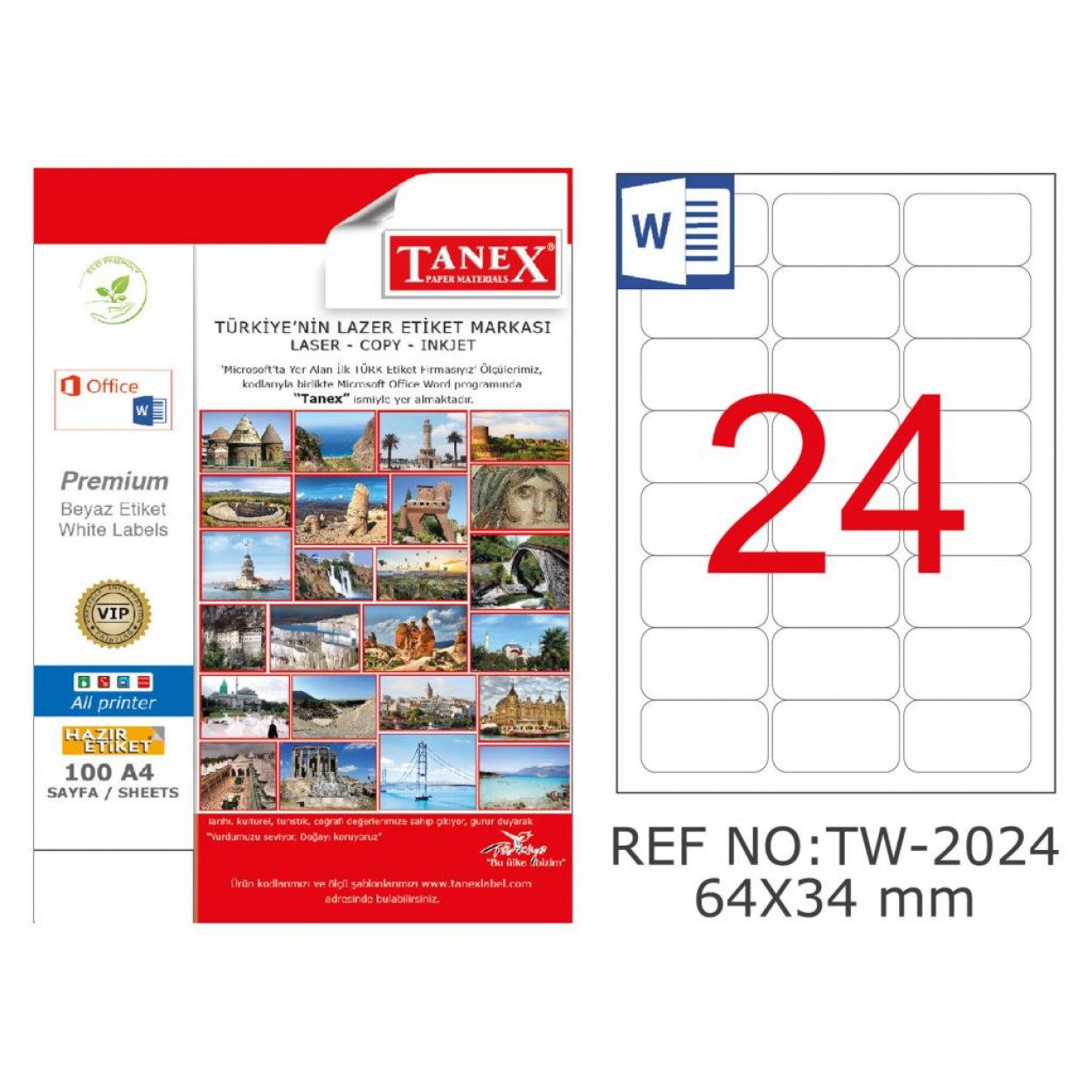 Tanex TW-2024 Kuşe Laser Etiket 64 mm x 34 mm
