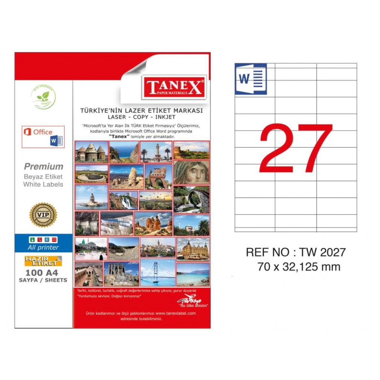 Tanex TW-2027 70x132.125mm Kuşe Laser Etiket 100 Lü Paket