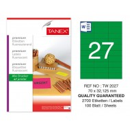 Tanex TW-2027 70x32,125 mm Yeşil Floresan Laser Etiket 100 Lü