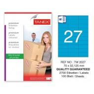 Tanex TW-2027 70x32,125mm Mavi Pastel Laser Etiket 100 Lü