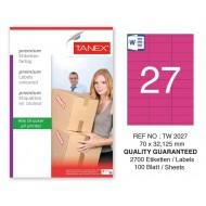 Tanex TW-2027 70x32,125mm Pembe Pastel Laser Etiket 100 Lü