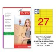 Tanex TW-2027 70x32,125mm Sarı Pastel Laser Etiket 100 Lü