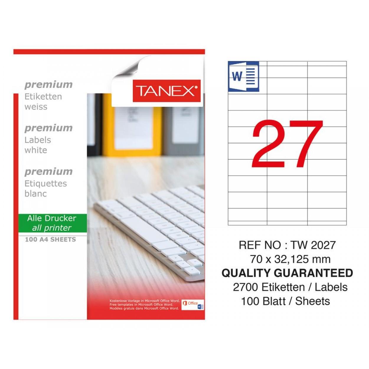 Tanex  TW-2027 Laser Etiket 70 x 32.125 mm