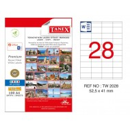 Tanex TW-2028 52.5x141mm Kuşe Laser Etiket 100 Lü Paket