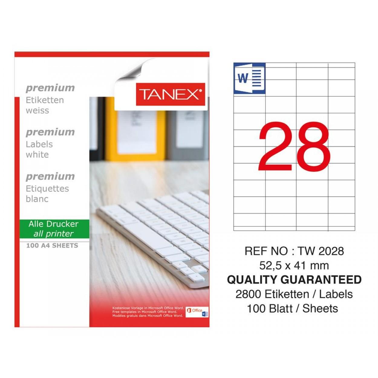 Tanex Tw-2028 Laser Etiket  52,5 x 41 mm
