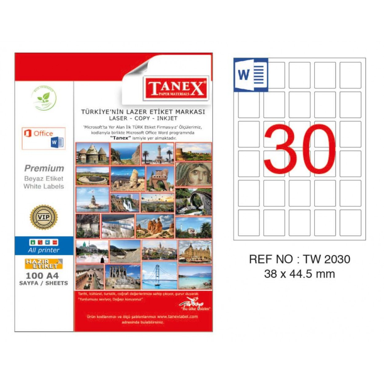 Tanex TW-2030 38x44.5mm Kuşe Laser Etiket 100 Lü Paket