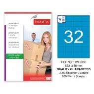 Tanex TW-2032 52,5x35mm Mavi Pastel Laser Etiket 100 Lü