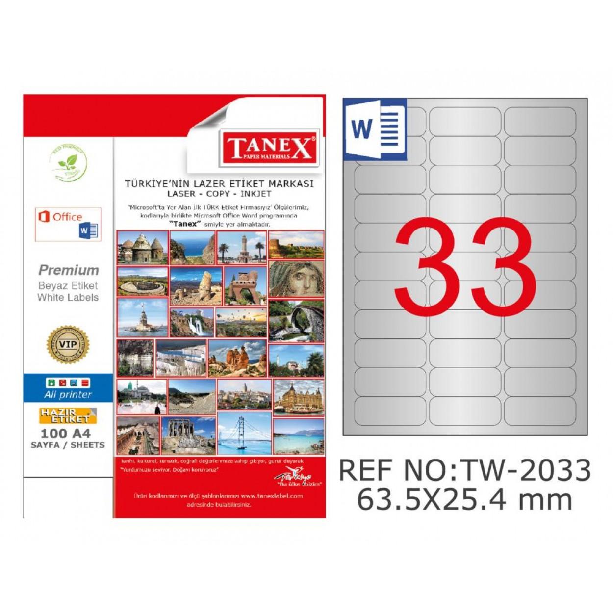 Tanex TW-2033 63.5x25.4 mm Gümüş Lazer Etiket 825 Li