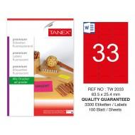 Tanex TW-2033 63,5x25,4 mm Kırmızı Floresan Laser Etiket 100 Lü