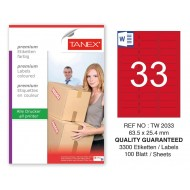 Tanex TW-2033 63,5x25,4mm Kırmızı Pastel Laser Etiket 100 Lü