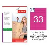 Tanex TW-2033 63,5x25,4mm Pembe Pastel Laser Etiket 100 Lü