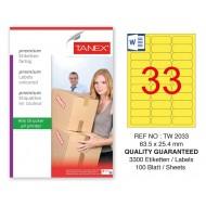 Tanex TW-2033 63,5x25,4mm Sarı Pastel Laser Etiket 100 Lü