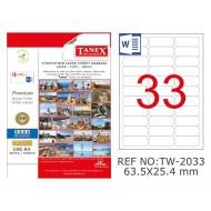 Tanex TW-2033 63.5x25.4mm Şeffaf Laser Etiket 825 Li
