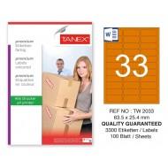 Tanex TW-2033 63,5x25,4mm Turuncu Pastel Laser Etiket 100 Lü