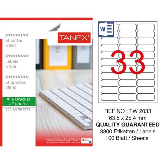 Tanex TW- 2033 Laser Etiket 100 Lü Paket