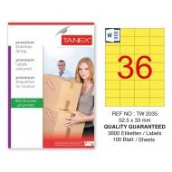 Tanex TW-2035 52,5x33mm Sarı Pastel Laser Etiket 100 Lü