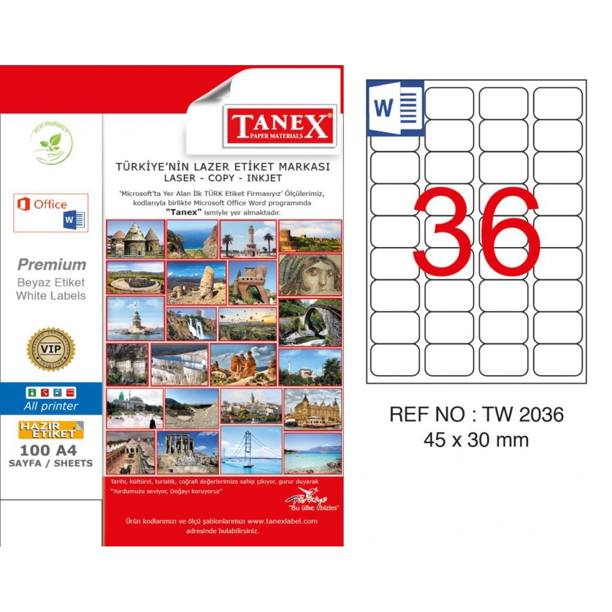 Tanex TW-2036 45x30mm Kuşe Laser Etiket 100 Lü Paket