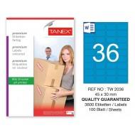 Tanex TW-2036 45x30mm Mavi Pastel Laser Etiket 100 Lü