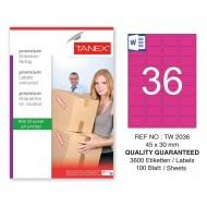 Tanex TW-2036 45x30mm Pembe Pastel Laser Etiket 100 Lü