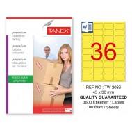 Tanex TW-2036 45x30mm Sarı Pastel Laser Etiket 100 Lü
