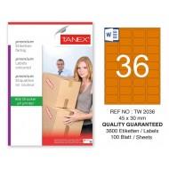 Tanex TW-2036 45x30mm Turuncu Pastel Laser Etiket 100 Lü