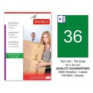 Tanex TW-2036 45x30mm Yeşil Pastel Laser Etiket 100 Lü