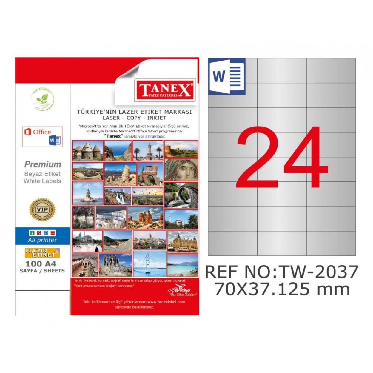 Tanex TW-2037 70x37.125 mm Gümüş Lazer Etiket 600 Lü