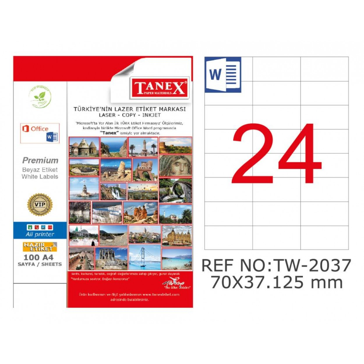 Tanex TW-2037 70x37.125mm Kuşe Laser Etiket 100 Lü Paket