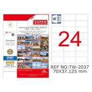 Tanex TW- 2037 70x37.125mm Kuşe Laser Etiket 100 Lü Paket