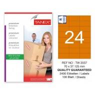 Tanex TW-2037 70x37,125mm Turuncu Pastel Laser Etiket 100 Lü