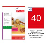 Tanex TW-2040 52,5x29,7 mm Kırmızı Floresan Laser Etiket 100 Lü