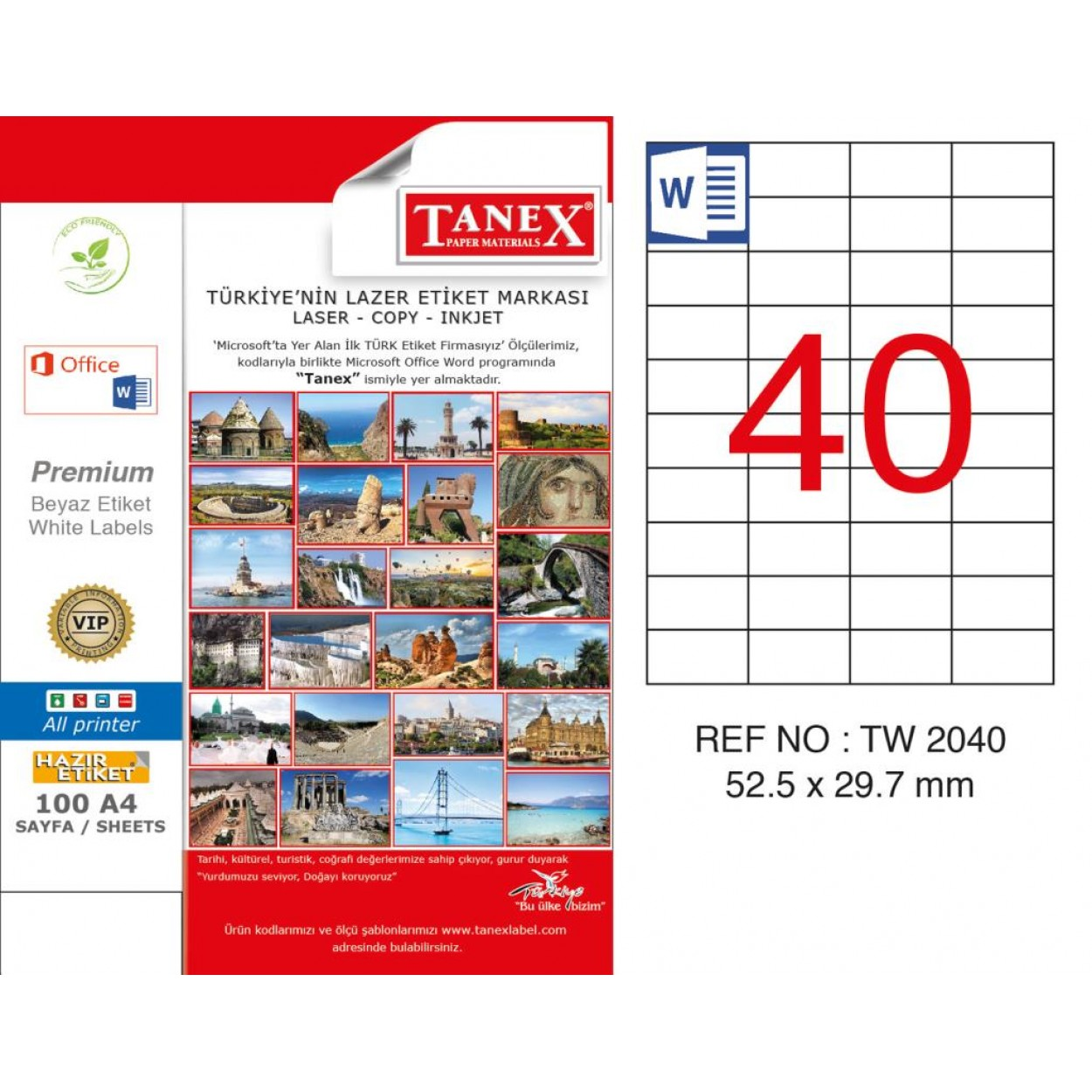 Tanex TW- 2040 52.5x29.7mm Kuşe Laser Etiket 100 Lü Paket