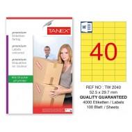 Tanex TW-2040 52,5x29,7mm Sarı Pastel Laser Etiket 100 Lü Paket