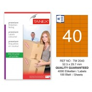 Tanex TW-2040 52,5x29,7mm Turuncu Pastel Laser Etiket 100 Lü
