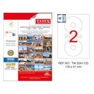 Tanex TW-2041 118x41mm Kuşe Laser Etiket 100 Lü Paket