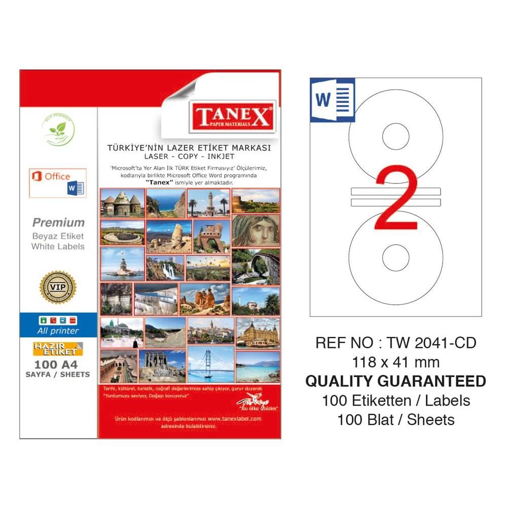 Tanex TW-2041 Cd Etiketi 100 Sayfa