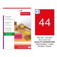Tanex TW-2044 48,5x25,4 mm Kırmızı Floresan Laser Etiket 100 Lü