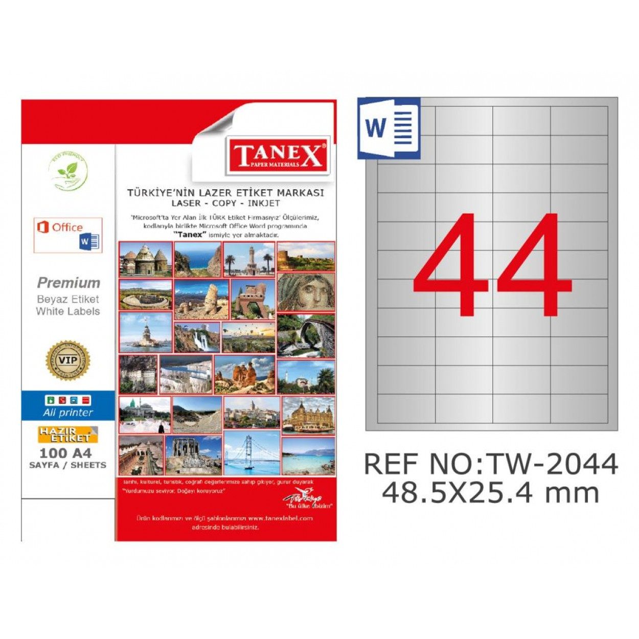 Tanex TW-2044 48.5x25.4mm Gümüş Lazer Etiket 1100 Lü