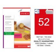 Tanex TW-2052 46,4x21,2 mm Kırmızı Floresan Laser Etiket 100 Lü
