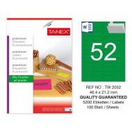 Tanex TW-2052 46,4x21,2 mm Yeşil Floresan Laser Etiket 100 Lü