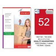 Tanex TW-2052 46,4x21,2mm Kırmızı Pastel Laser Etiket 100 Lü