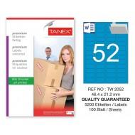 Tanex TW-2052 46,4x21,2mm Mavi Pastel Laser Etiket 100 Lü