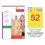 Tanex TW-2052 46,4x21,2mm Sarı Pastel Laser Etiket 100 Lü Paket
