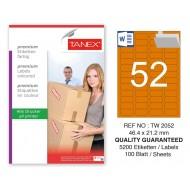 Tanex TW-2052 46,4x21,2mm Turuncu Pastel Laser Etiket 100 Lü