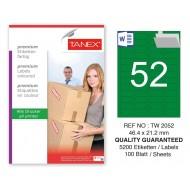 Tanex TW-2052 46,4x21,2mm Yeşil Pastel Laser Etiket 100 Lü