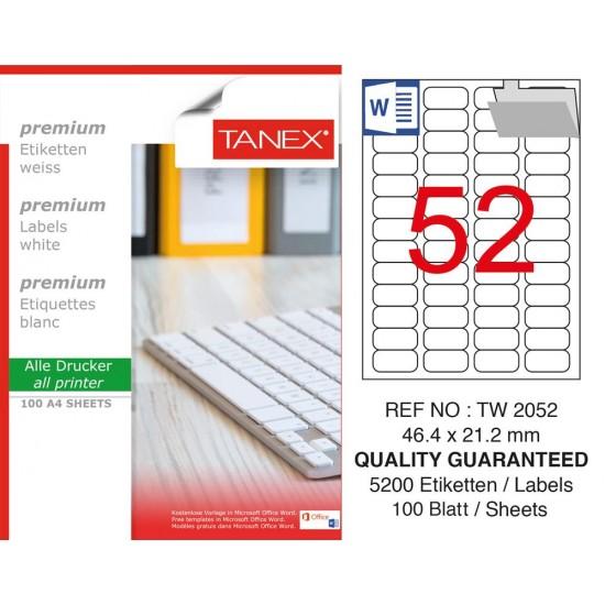 Tanex TW-2052 Laser Etiket  46,4 x 21,2 mm