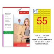 Tanex TW-2055 37x24mm Sarı Pastel Laser Etiket 100 Lü Paket